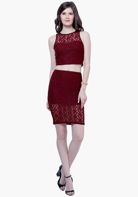 Lace High Pencil Skirt - Oxblood