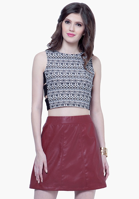 Leather Lass Mini Skirt - Oxblood
