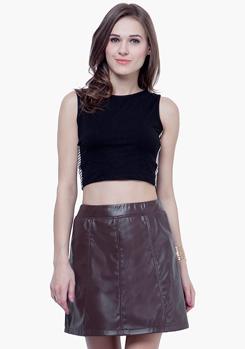 Leather Lass Mini Skirt - Brown