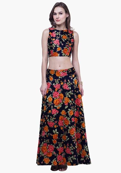 Navy Blooms Silk Maxi Skirt - Orange