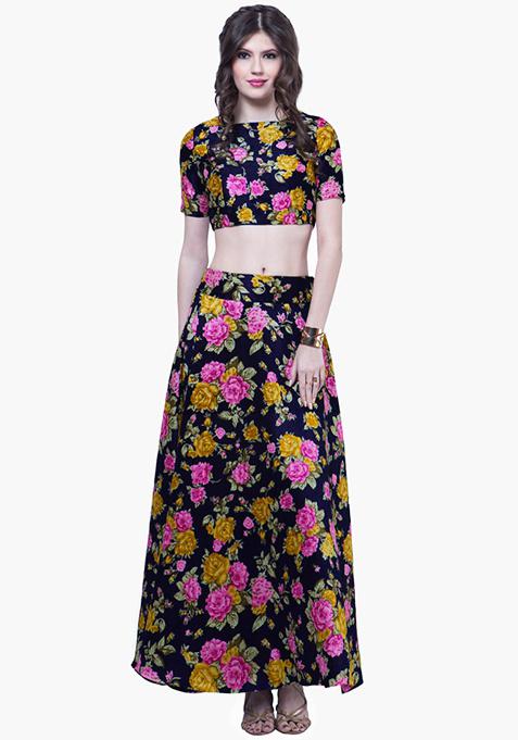 Navy Blooms Silk Maxi Skirt - Yellow