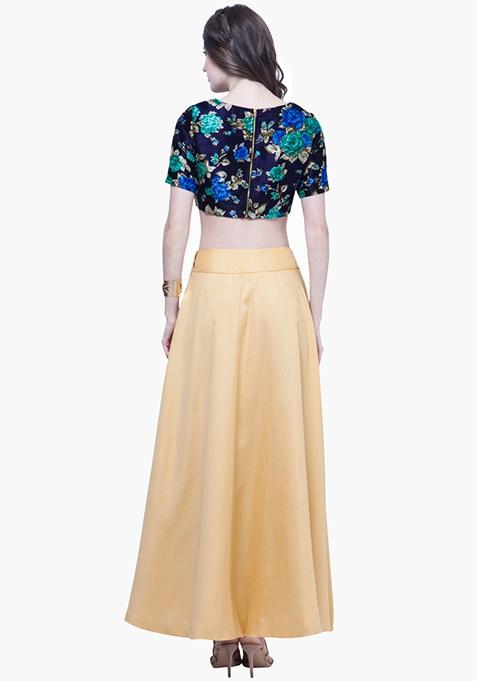 Silk Lush Maxi Skirt - Gold