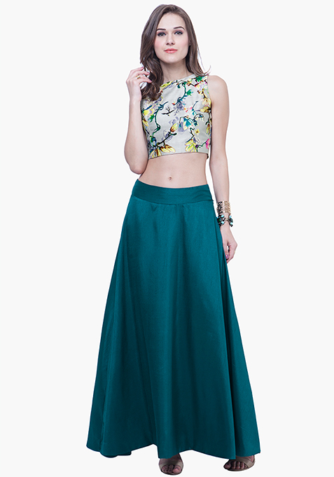 Silk Lush Maxi Skirt - Teal