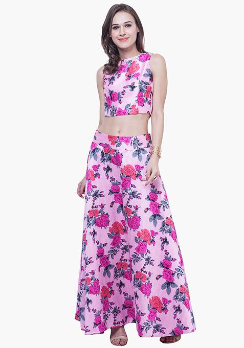 Floral Floss Silk Maxi Skirt