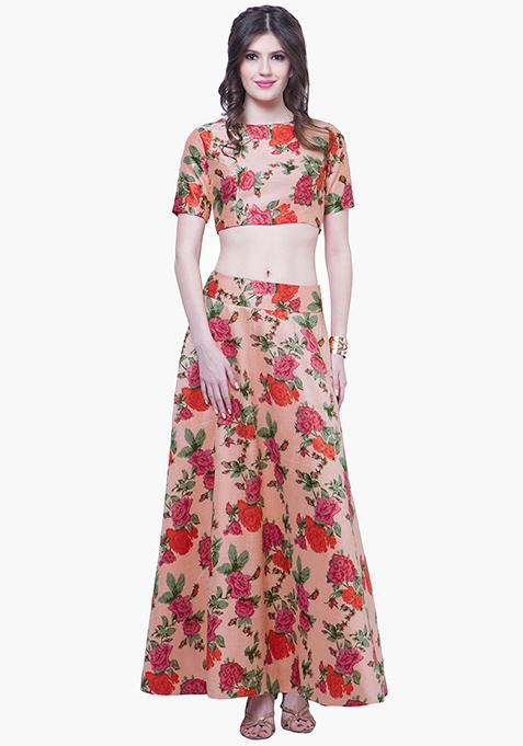 Peach Crush Silk Maxi Skirt