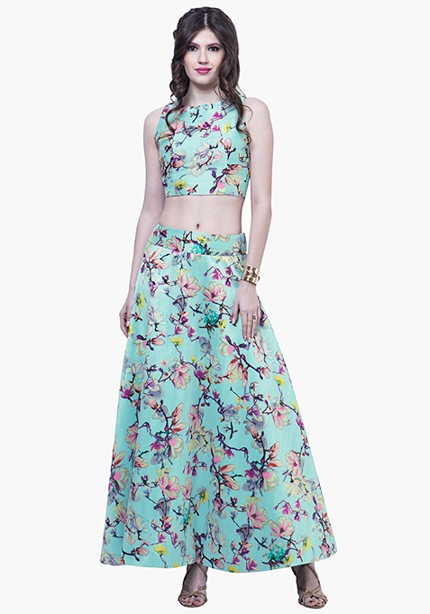 Floral Vine Silk Maxi Skirt - Mint