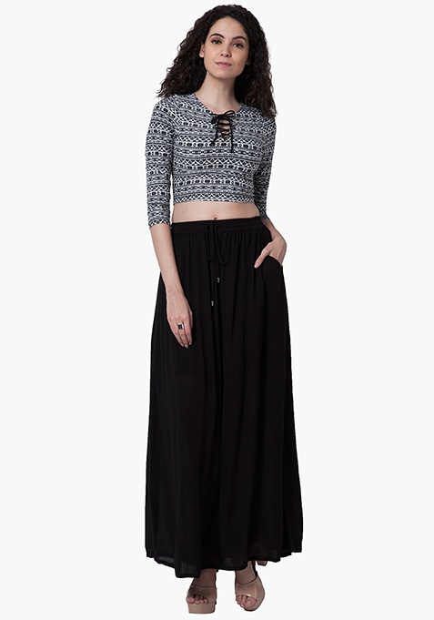 Gathered Maxi Skirt - Black