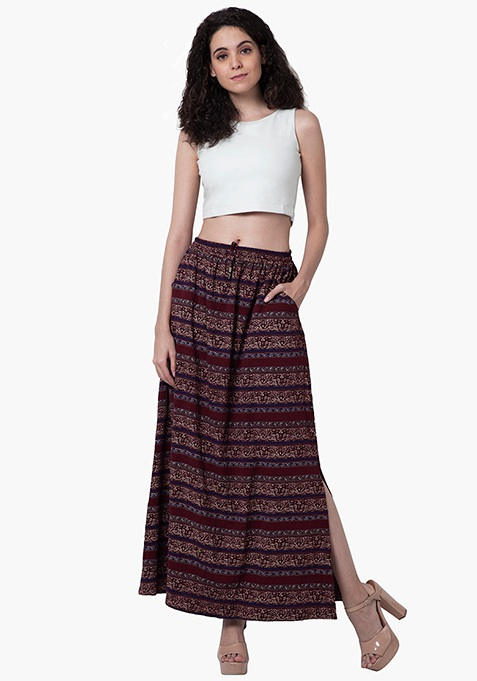 Gathered Maxi Skirt - Tribal