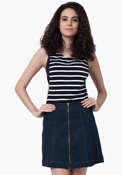 Zip-To-It Denim Mini Skirt - Dark