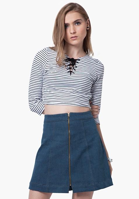Zip-To-It Denim Mini Skirt - Light