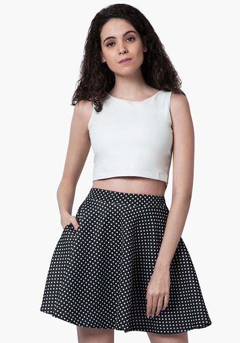 Flared Scuba Skater Skirt - Polka