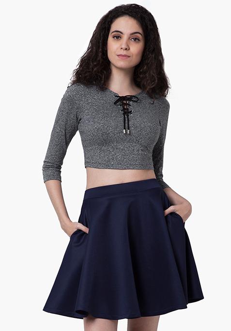 Flared Scuba Skater Skirt - Navy