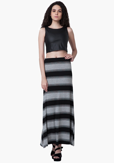 Flared Jersey Maxi Skirt - Stripes