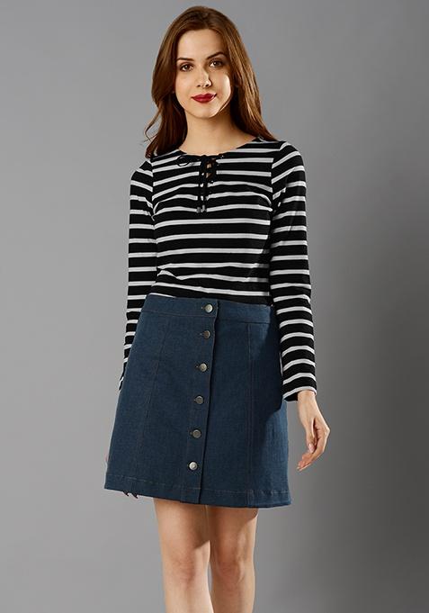 Denim A-line Skirt - Dark Wash
