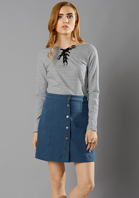 Denim A-line Skirt - Medium Wash