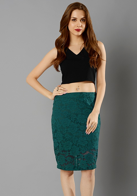 Lace Lass Pencil Skirt - Teal