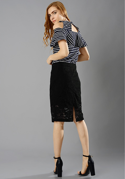 Lace Lass Pencil Skirt - Black