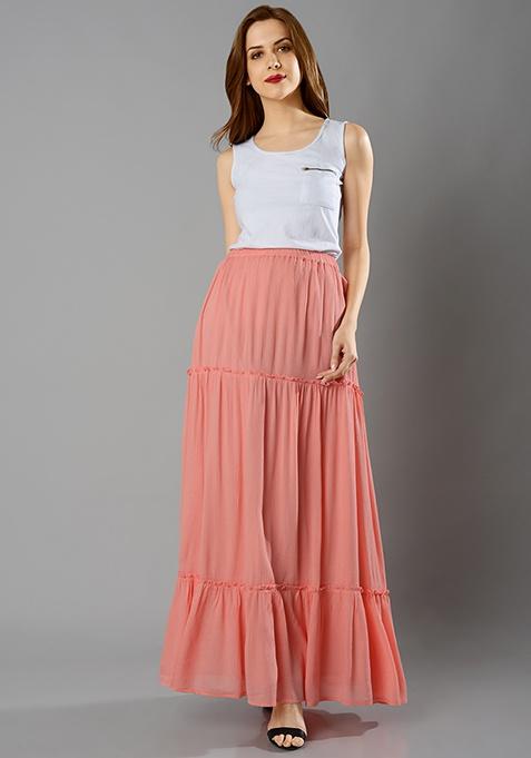 Tier Maxi Skirt - Peach