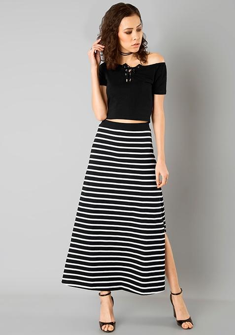 Flared Jersey Maxi Skirt - Black Stripes