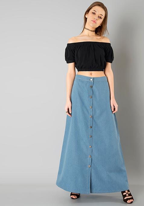 Denim A Line Maxi Skirt - Light Wash