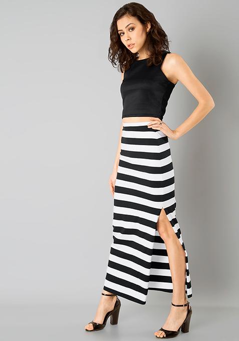 Basic Bae Maxi Skirt - Stripes