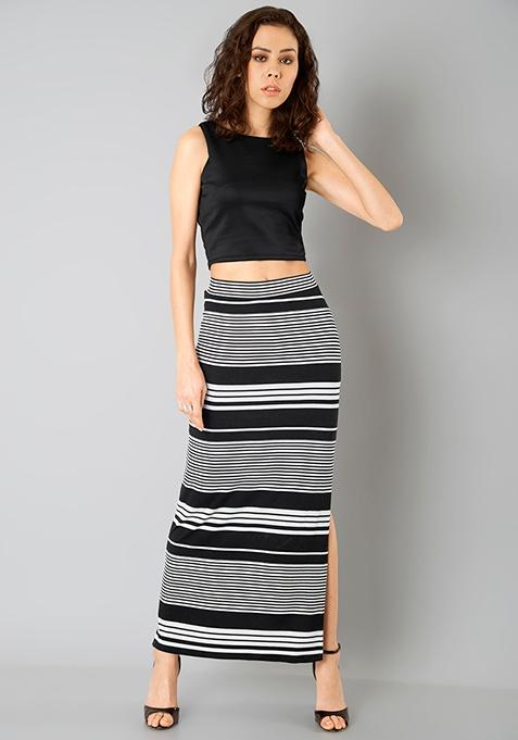 Basic Bae Maxi Skirt - Multi Stripes