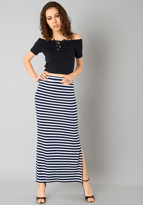 Basic Bae Maxi Skirt - Blue Stripes