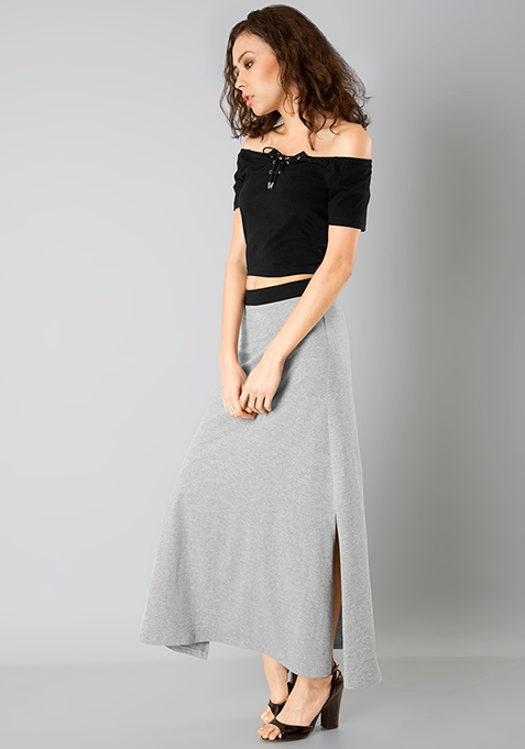 Flared Jersey Maxi Skirt - Grey