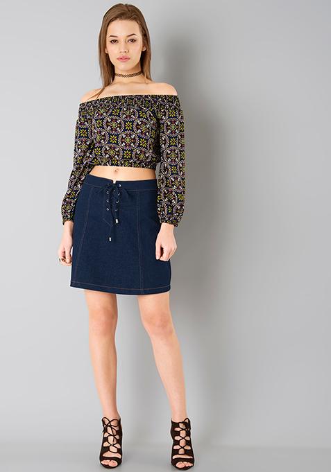 Tie Up Denim Skirt - Dark Wash