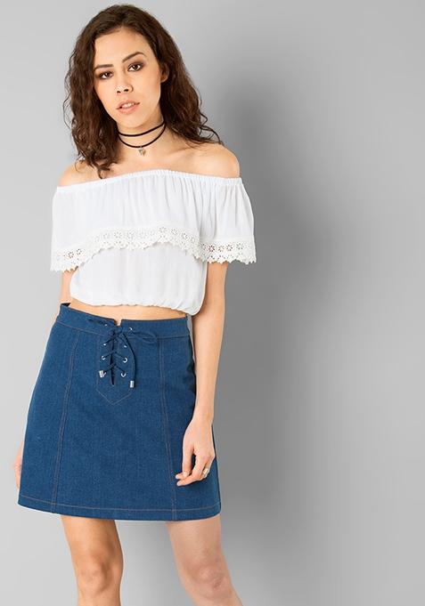 Tie Up Denim Skirt - Light Wash