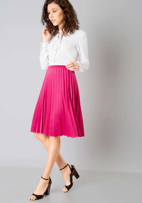 Pink Knife Pleated Midi Skirt