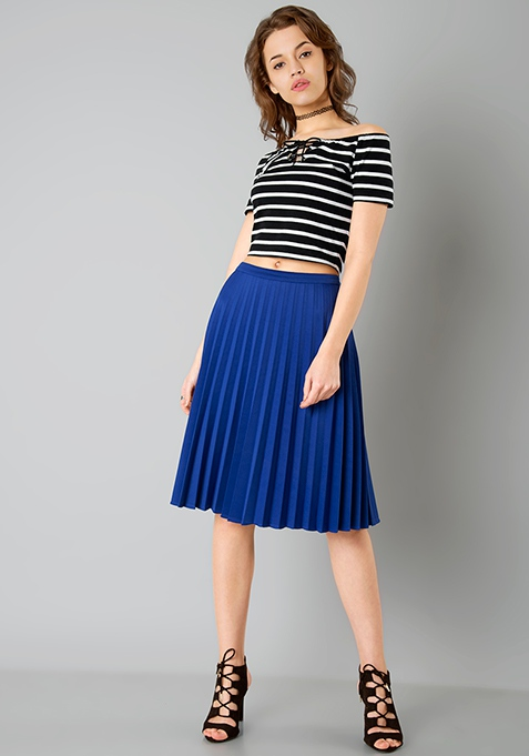Blue Knife Pleated Midi Skirt