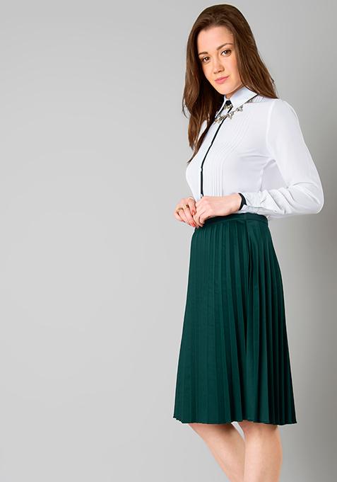 Green Knife Pleated Midi Skirt