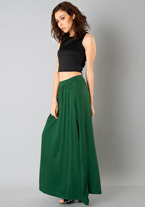 Wrap Maxi Skirt - Dark Green