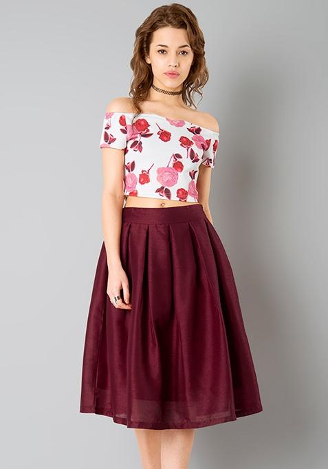 Glam Girl Silk Midi Skirt - Oxblood