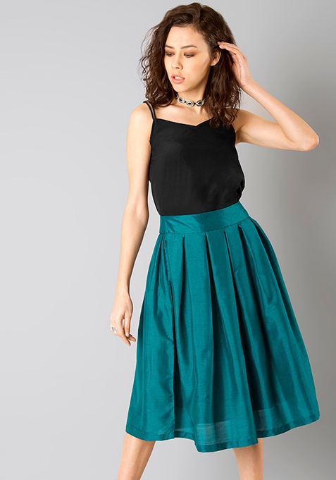 Glam Girl Silk Midi Skirt - Teal