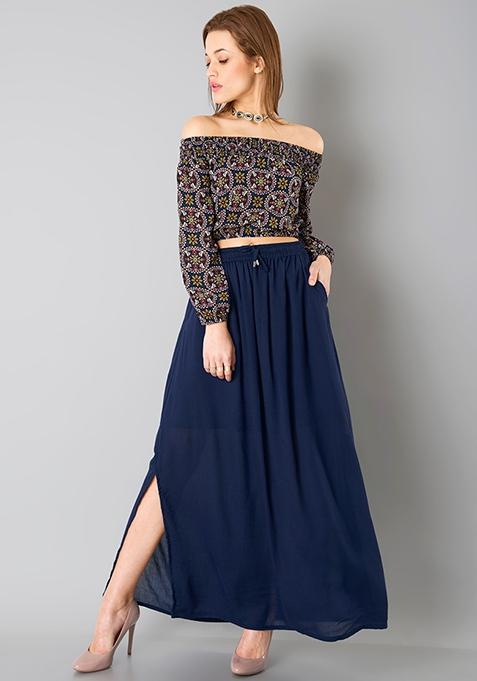 Gathered Maxi Skirt - Navy