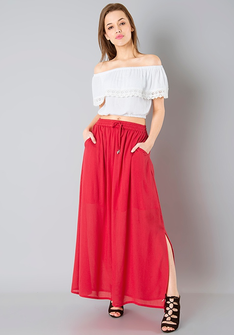 Gathered Maxi Skirt - Cerise