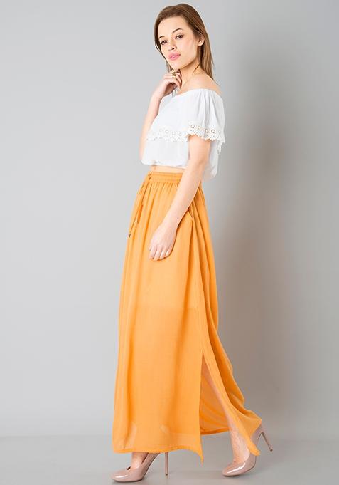 Gathered Maxi Skirt - Mustard