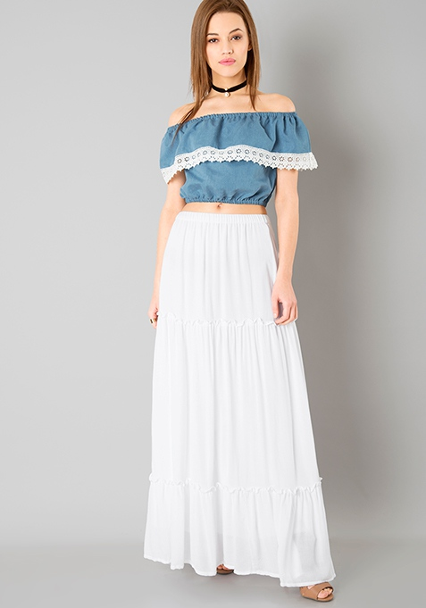 Teir Maxi Skirt - White