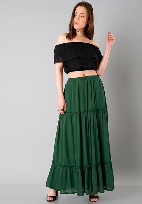 Teir Maxi Skirt - Dark Green