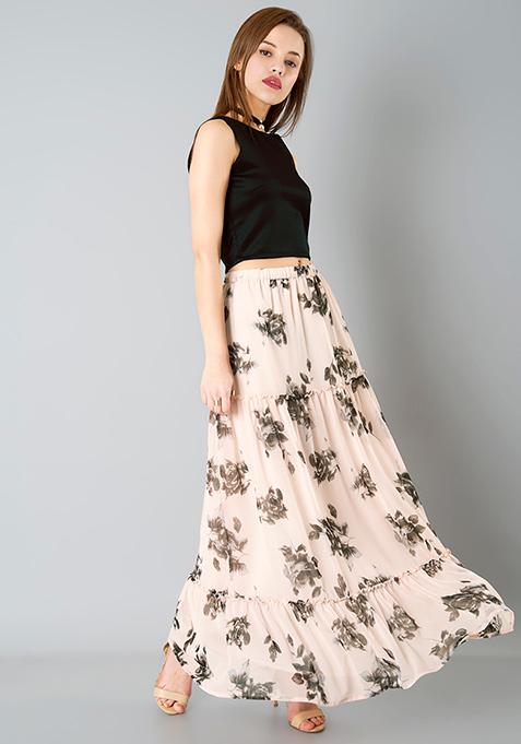 Tier Maxi Skirt - Blush Floral