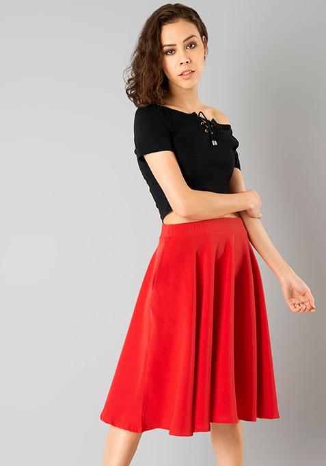 Flared Midi Skirt - Red