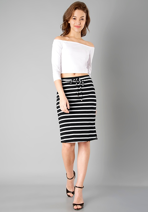 BASICS Pencil Skirt - Stripes