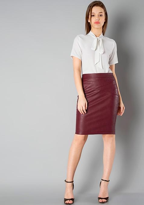 CLASSICS Leather Pencil Skirt - Oxblood