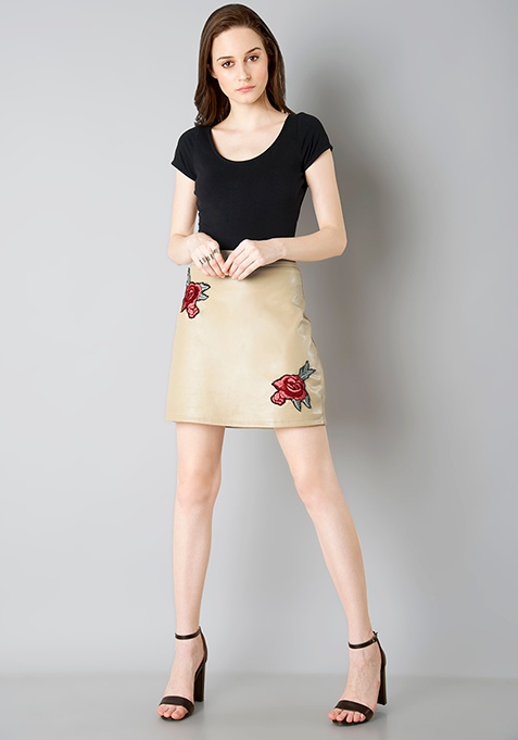 Embroidered Leather Mini Skirt - Beige
