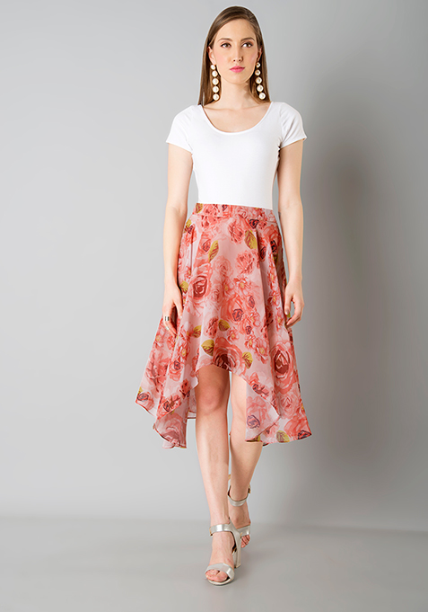 High Low Midi Skirt - Red Floral
