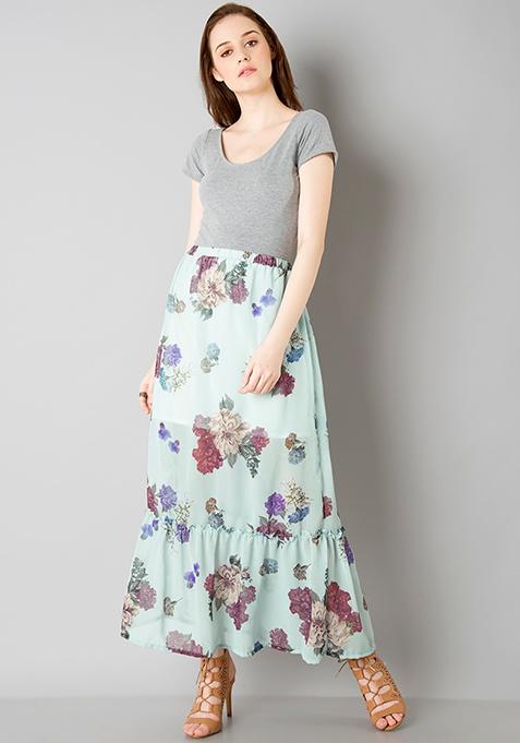 Ruffled Tier Maxi Skirt - Mint Floral