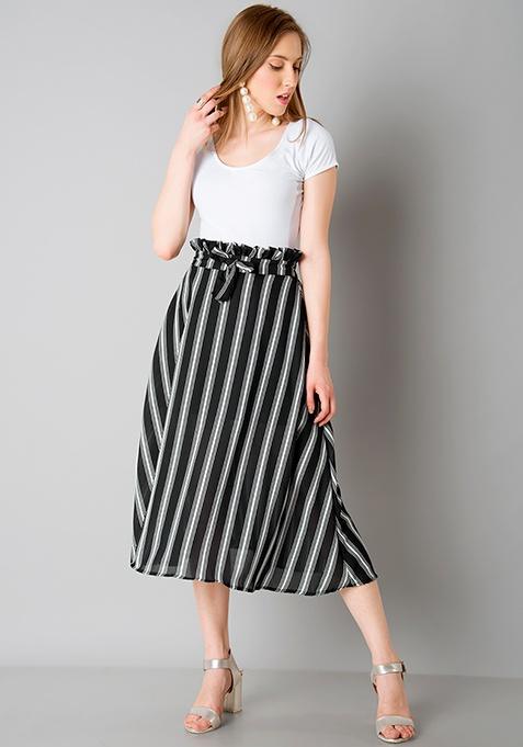 Paperbag Waist Midi Skirt - Black Stripes