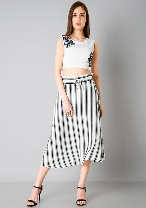 Paperbag Waist Midi Skirt - White Stripes